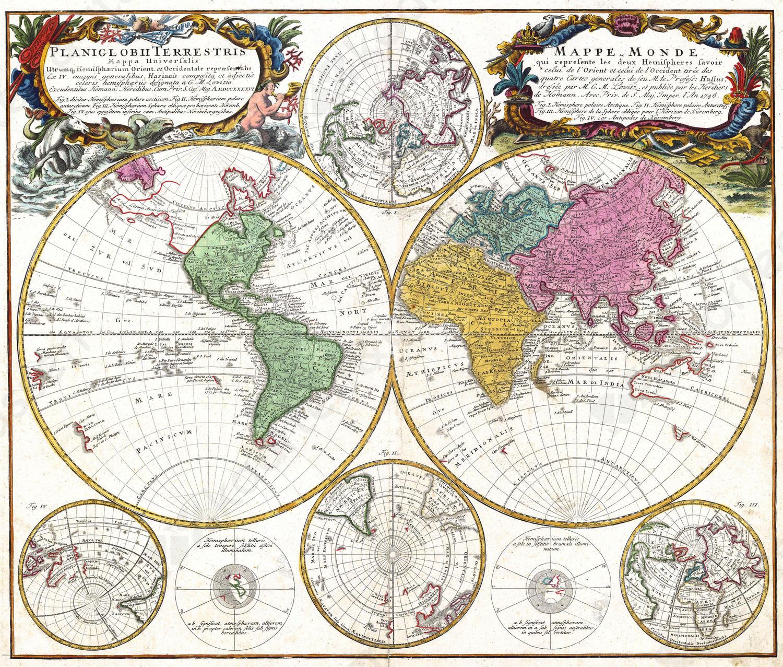Wereldkaart George Maurice Lowitz