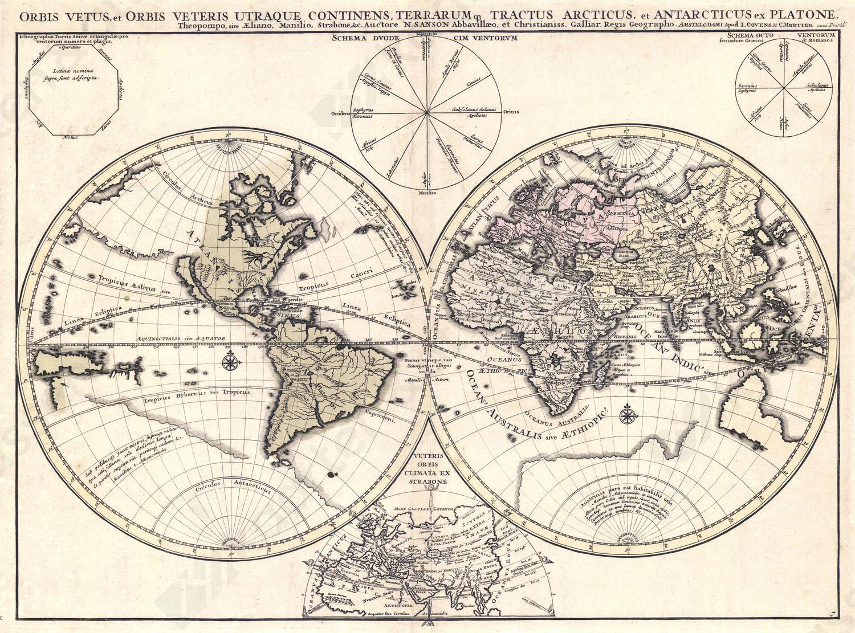 Wereldkaart Nicolas Sanson
