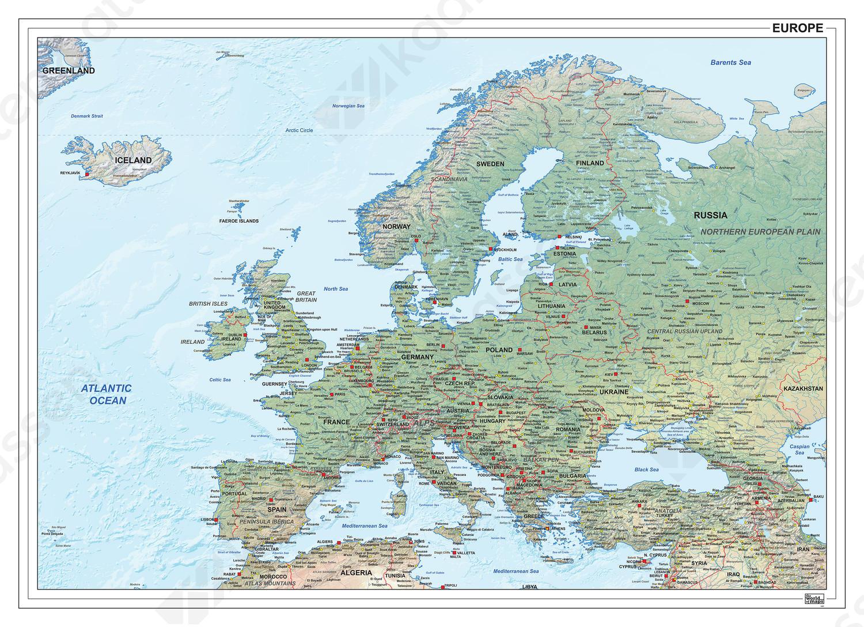 Digitale vector kaart Europa natuurkundig 1287