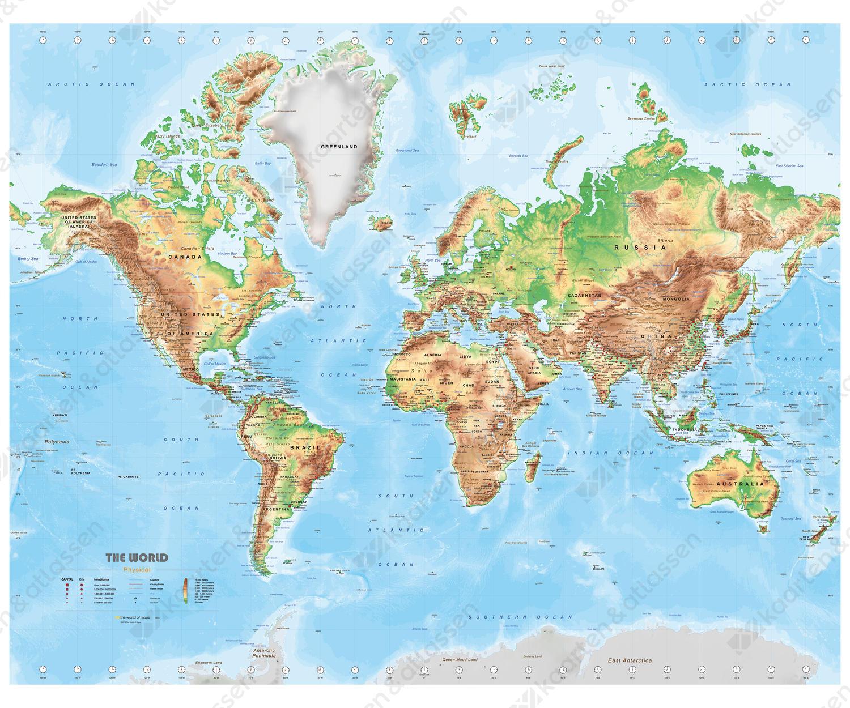 natuurkundige wereldkaart met veel details