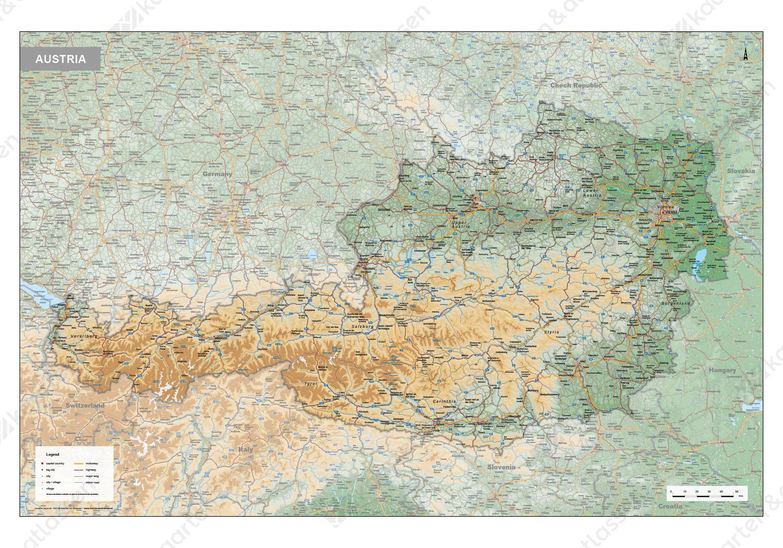 Oostenrijk Kaart Natuurkundig