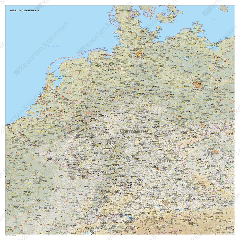 Kaart Benelux + Duitsland met natuurkundige ondergrond