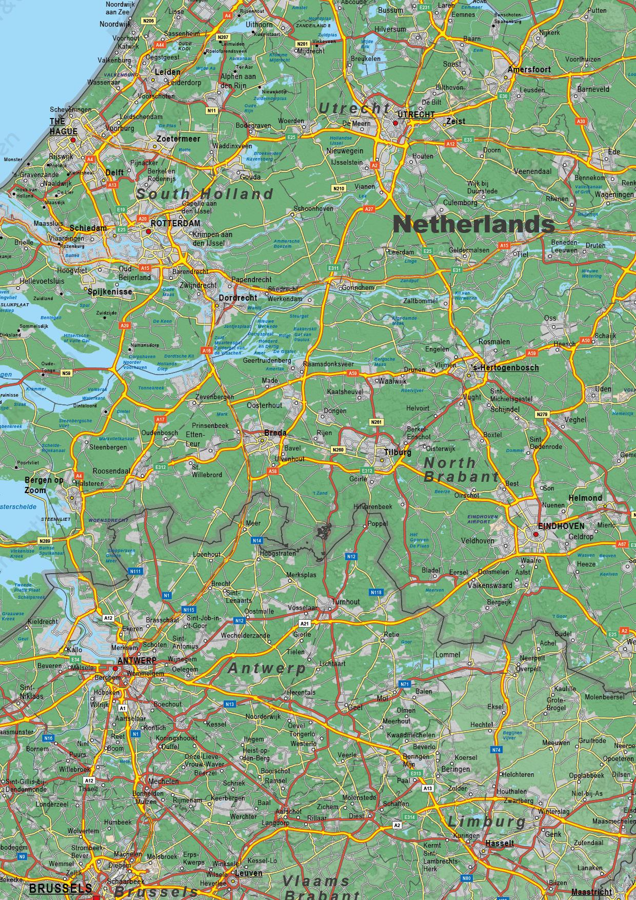 Benelux Kaart Natuurkundig