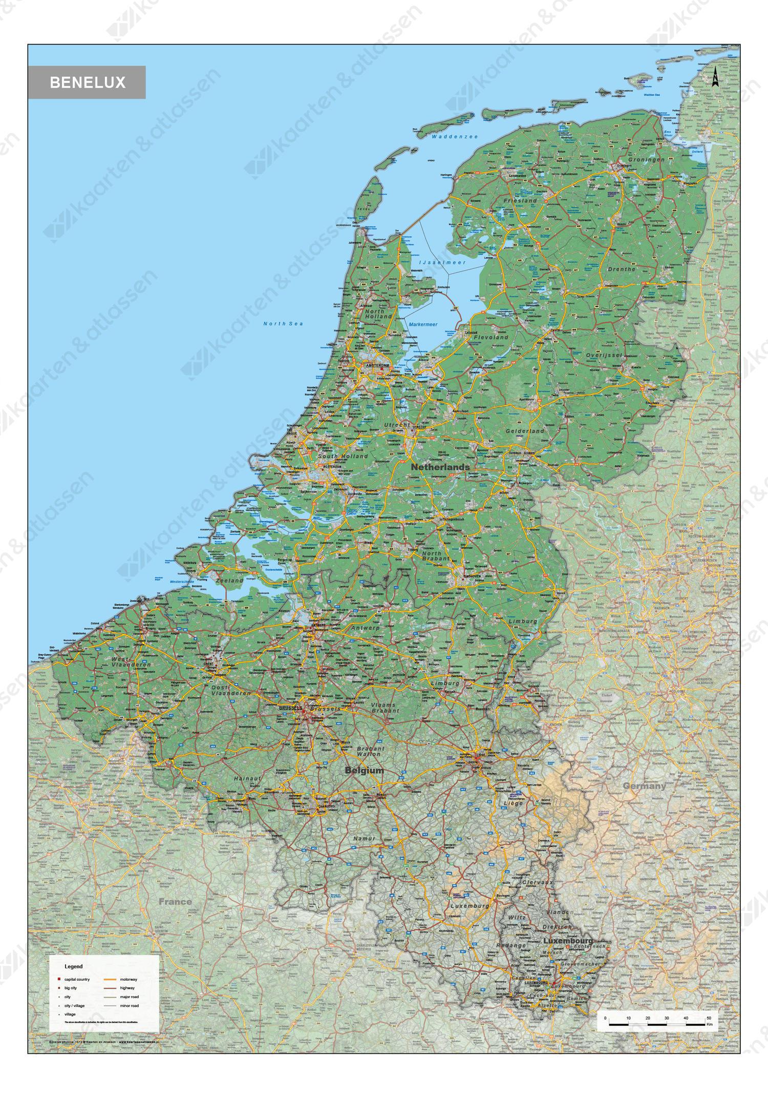 Digitale Benelux Kaart Natuurkundig