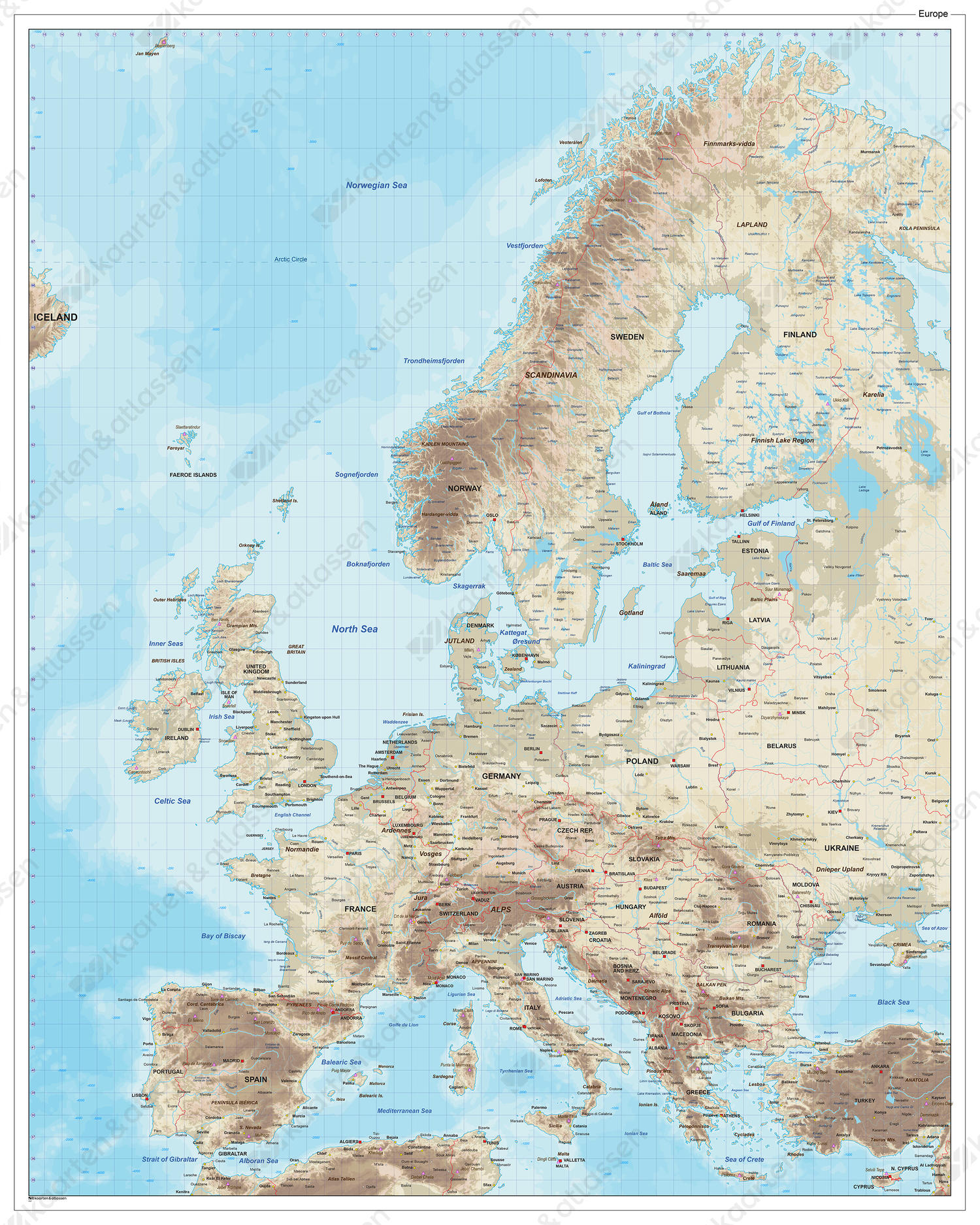 Natuurkundige Europakaart