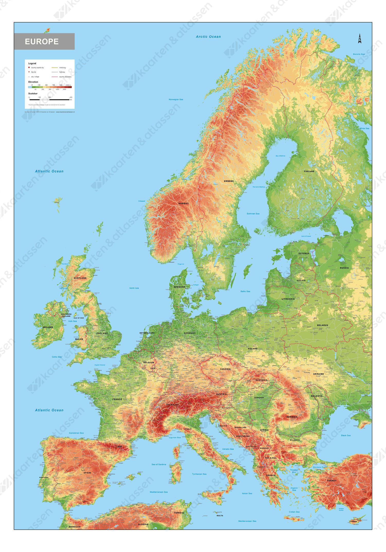 Europa Kaart Natuurkundig