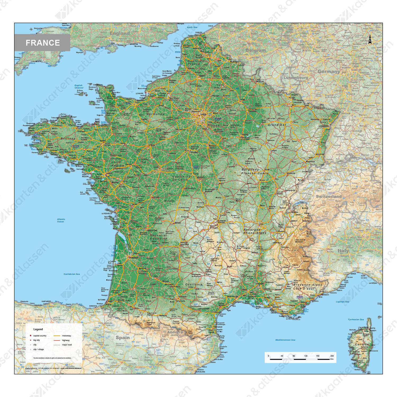 Digitale Frankrijk Kaart Natuurkundig 1575 Kaarten En Atlassen Nl