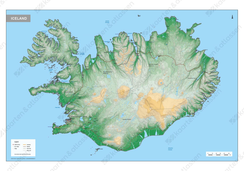 Digitale IJsland Kaart Natuurkundig