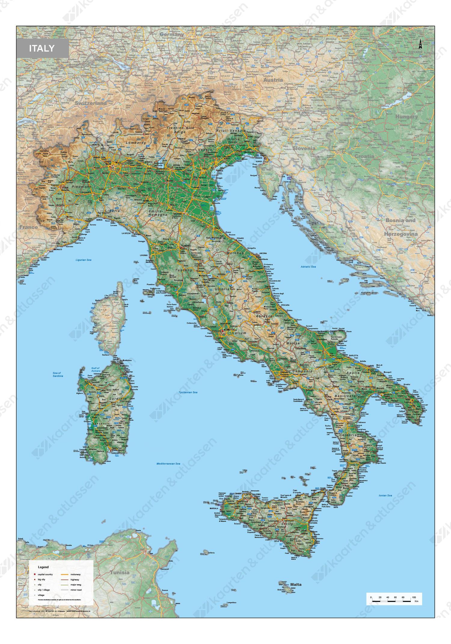 Digitale Italië Kaart Natuurkundig