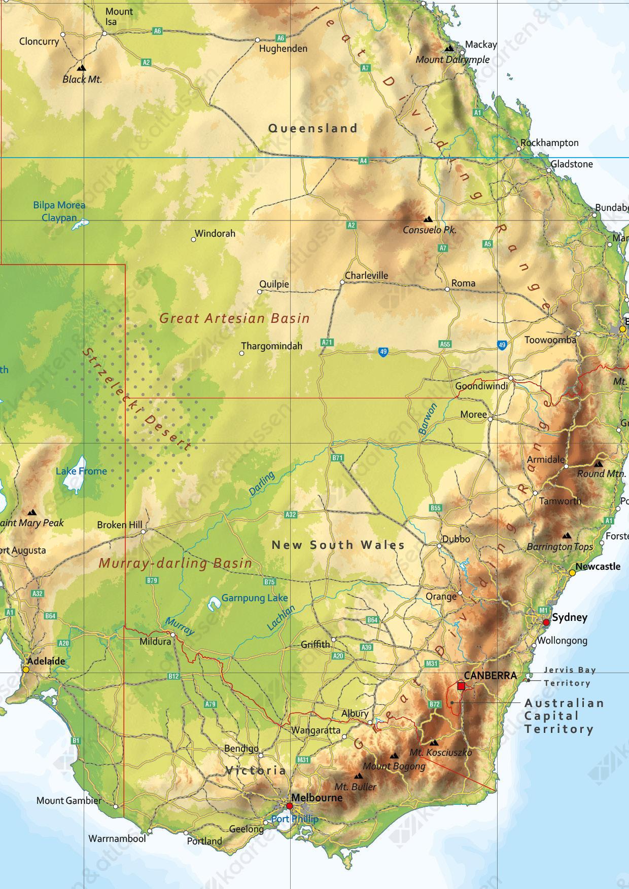 Digitale Australië en Nieuw-Zeeland kaart Natuurkundig