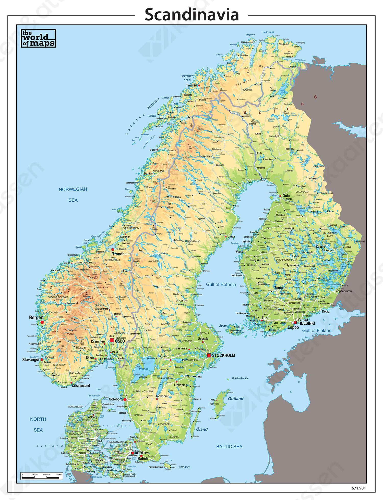 Scandinavië kaart natuurkundig