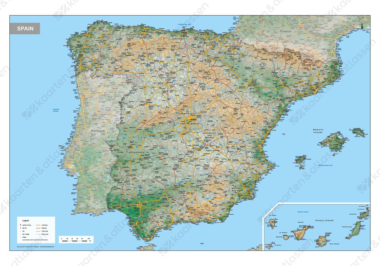 Digitale Spanje Kaart Natuurkundig