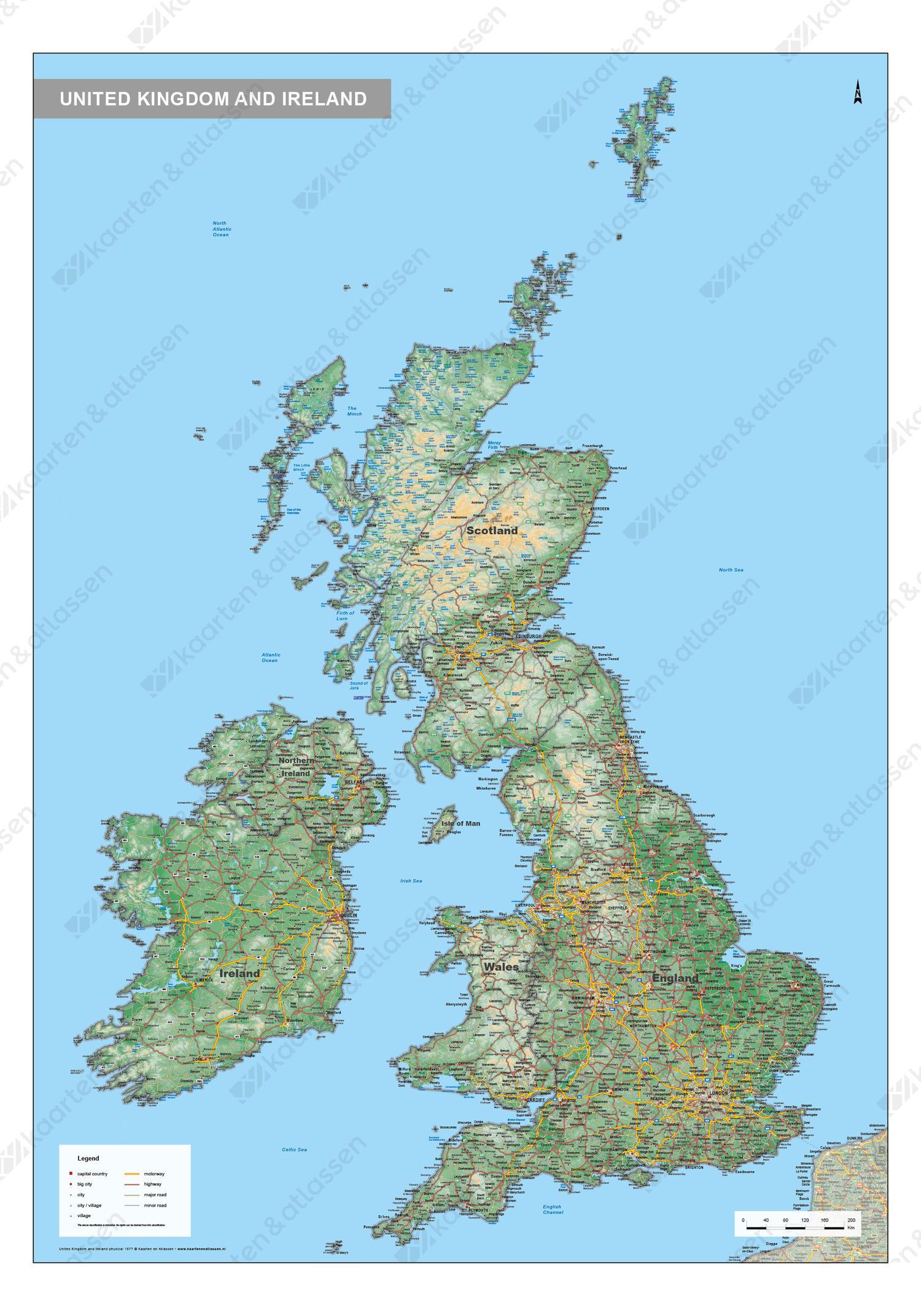 Digitale Verenigd Koninkrijk en Ierland Kaart Natuurkundig