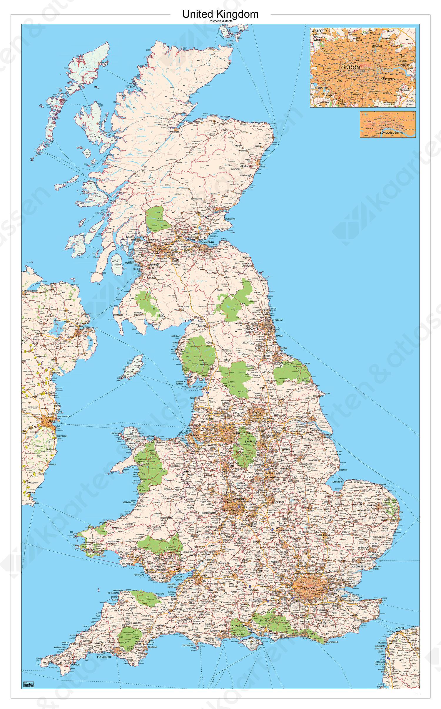 Verenigd Koninkrijk postcodekaart 544