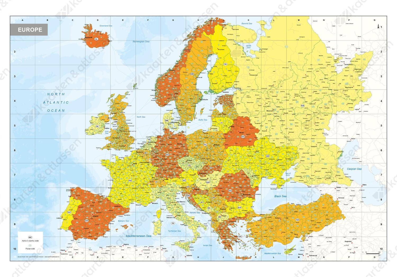 Postcode kaart Europa