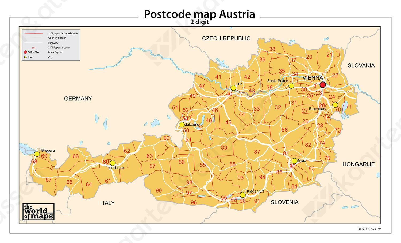Oostenrijk 2-cijferige postcodekaart 70