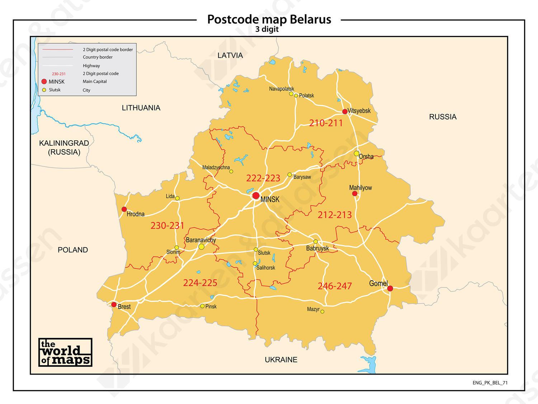 Belarus 3-cijferige postcodekaart