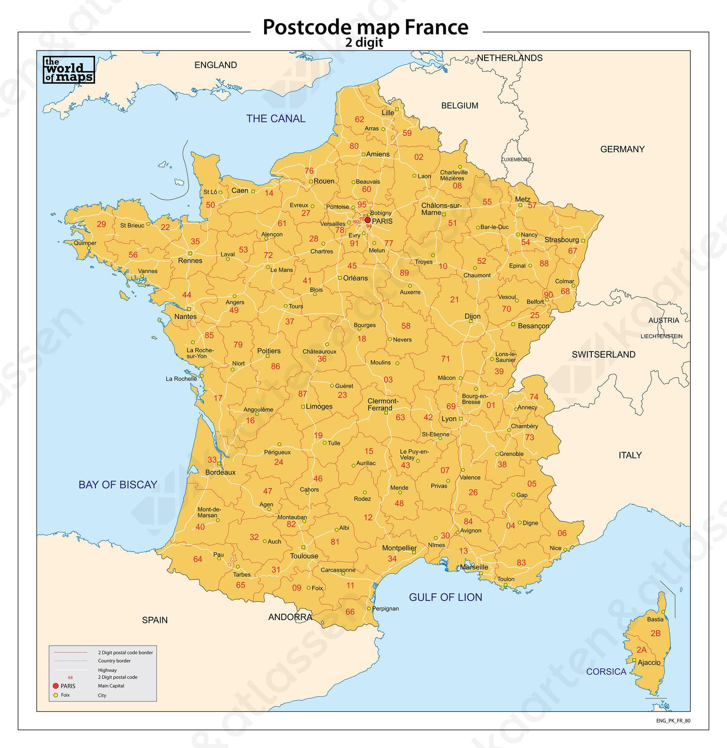 Frankrijk 2-cijferige postcodekaart 80