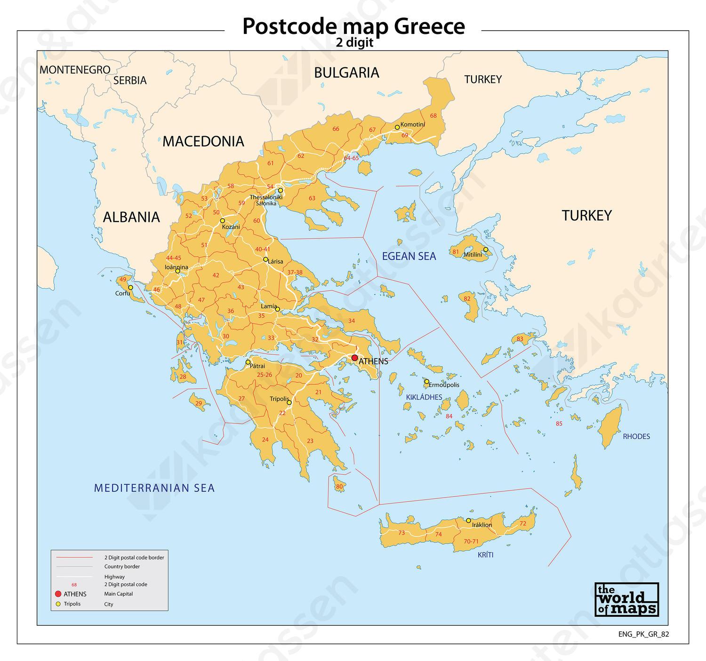 Griekenland 2-cijferige postcodekaart 82