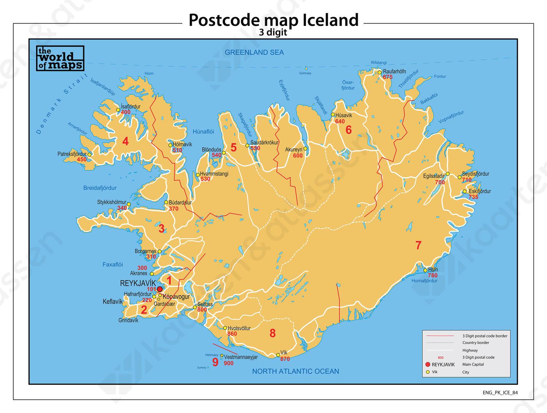 IJsland 3-cijferige postcodekaart 84