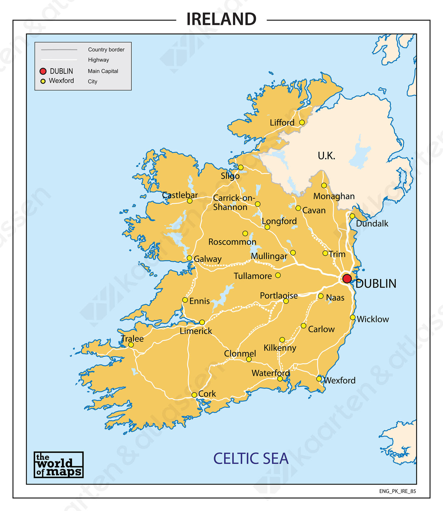 kaart ierland Ierland 3 cijferige postcodekaart 650 | Kaarten en Atlassen.nl