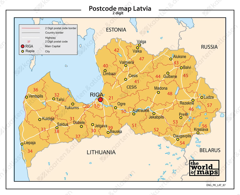Letland 2-cijferige postcodekaart 87