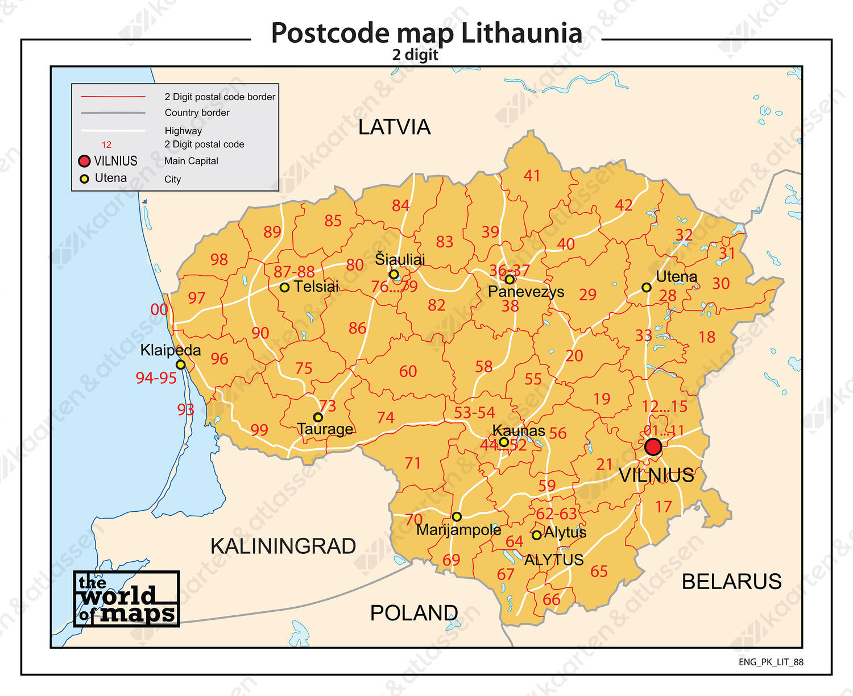 Litouwen 2-cijferige postcodekaart 88