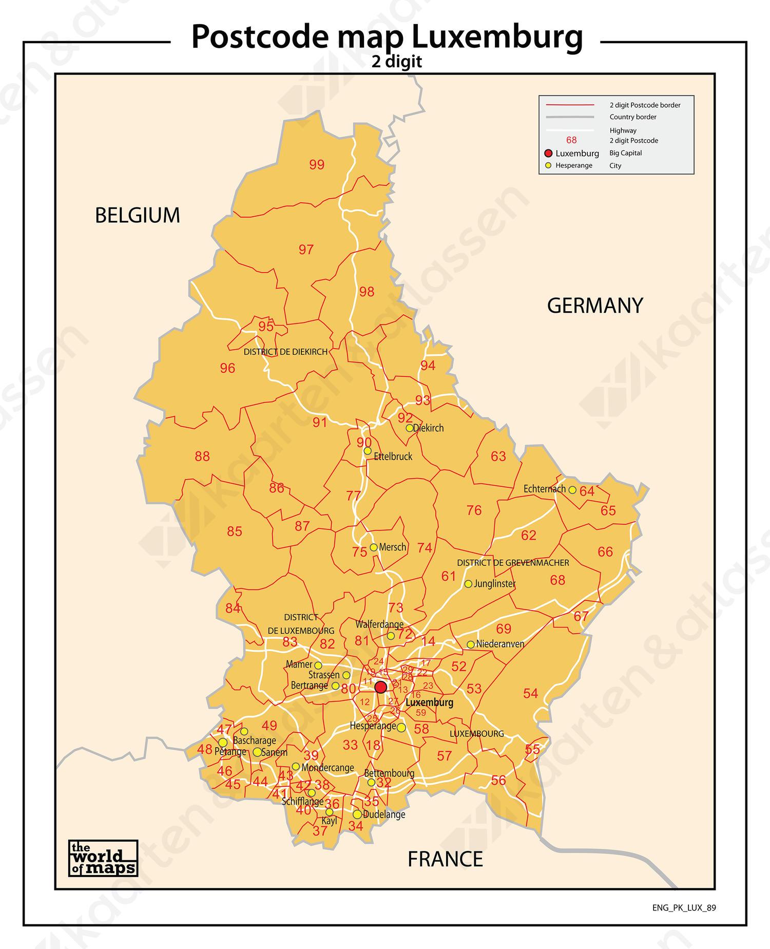 Luxemburg 2-cijferige postcodekaart 89