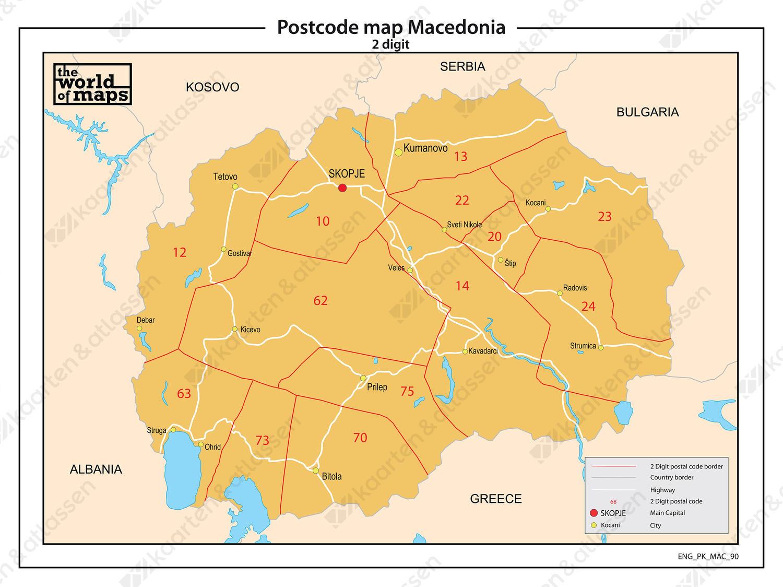 Digitale postcodekaart Macedonië 2-cijferig 90