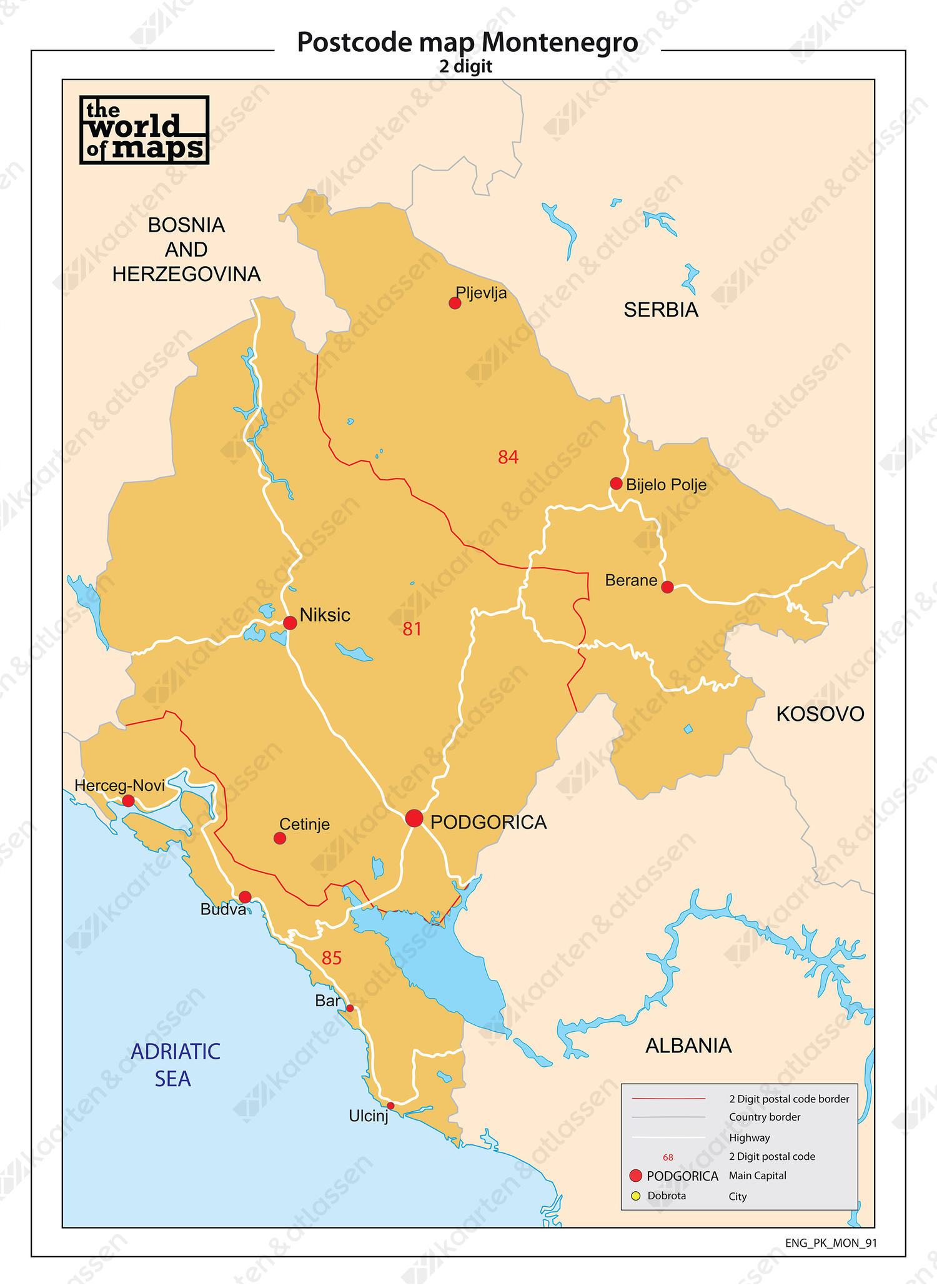 Montenegro 2-cijferige postcodekaart 91