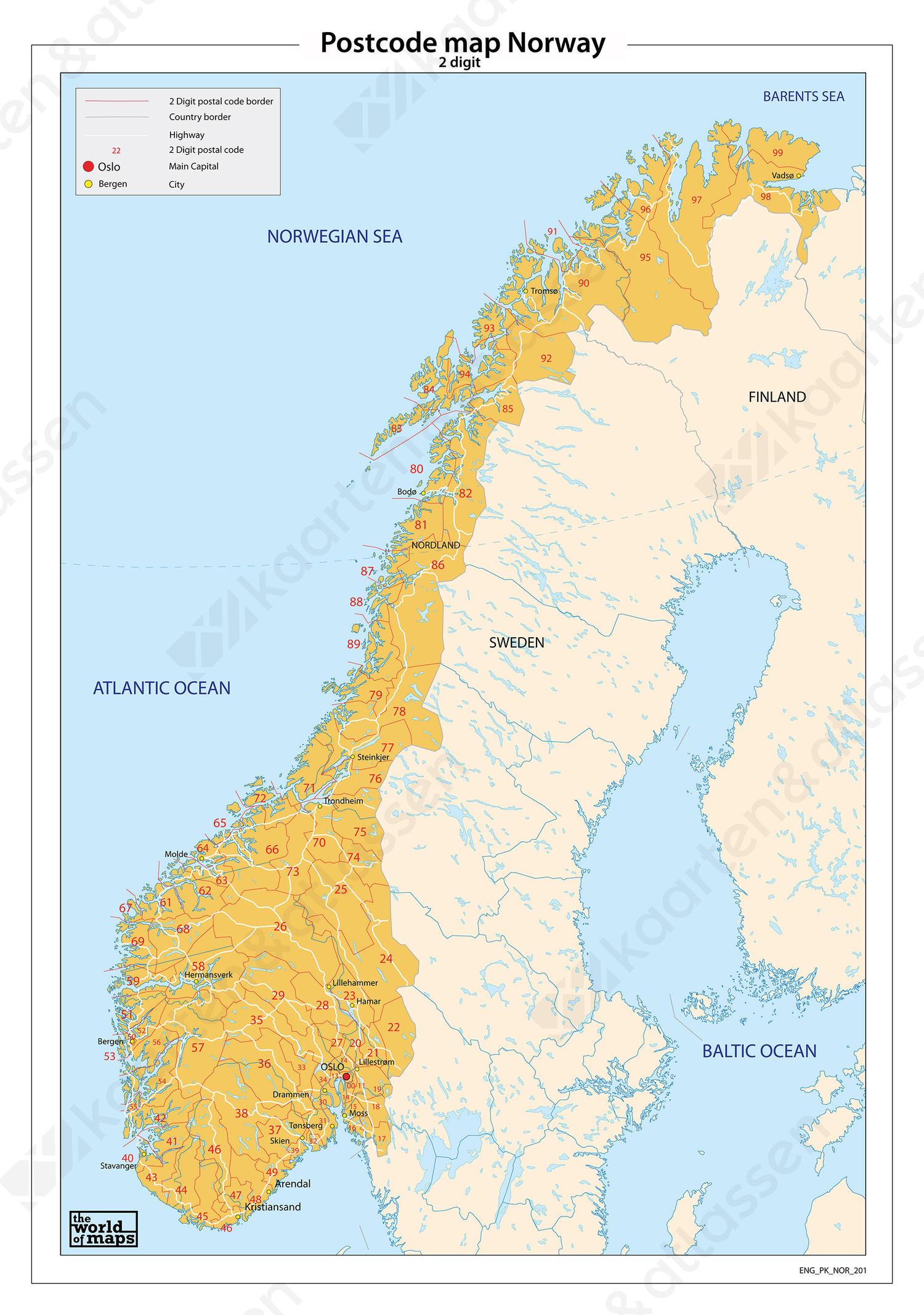 Noorwegen 2-cijferige postcodekaart 201