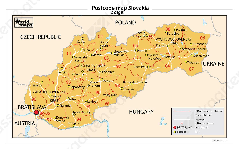 kaart slowakije Slowakije 2 cijferige postcodekaart 206 | Kaarten en Atlassen.nl