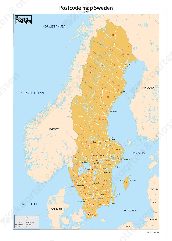 Zweden 2 Cijferige Postcodekaart 209 Kaarten En Atlassen Nl