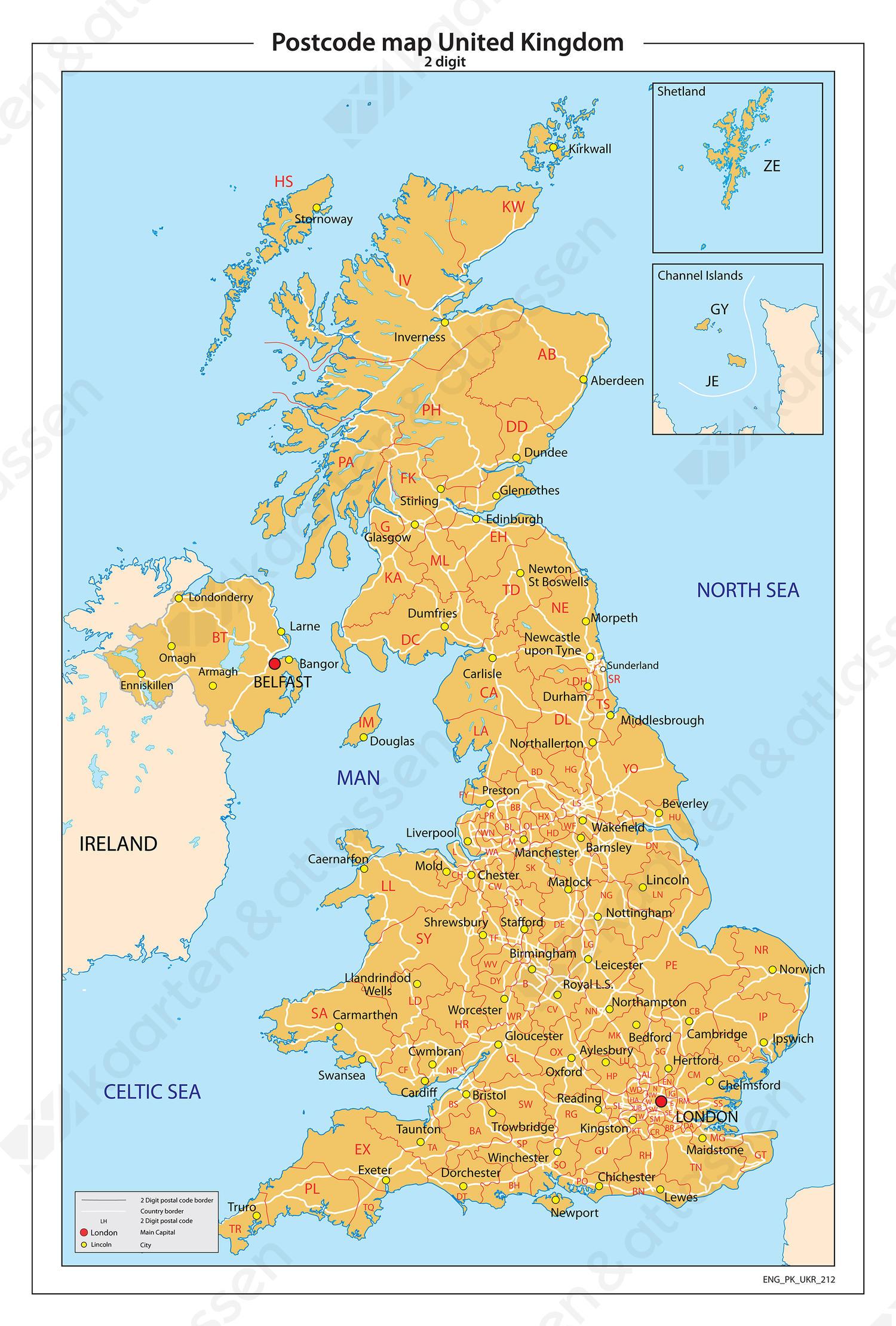 Verenigd Koninkrijk 2-cijferige postcodekaart 212