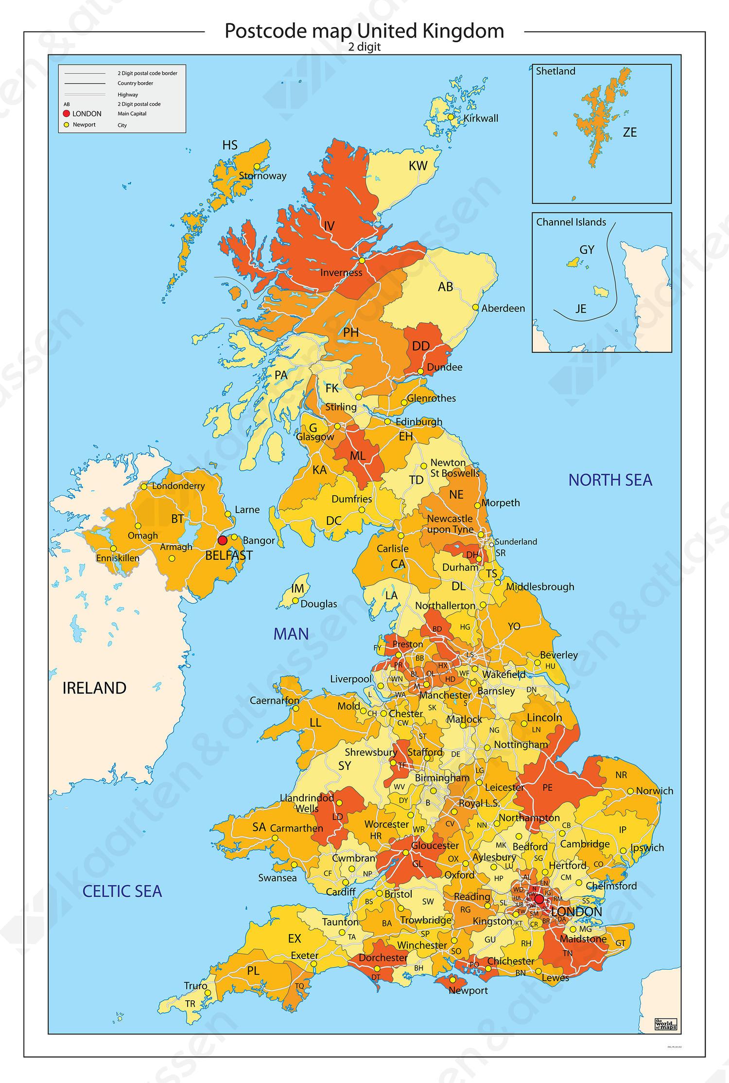 Postcodekaart United Kingdom 652 Kaarten En Atlassen Nl