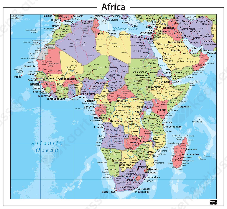 Digitale Kaart Afrika Staatkundig