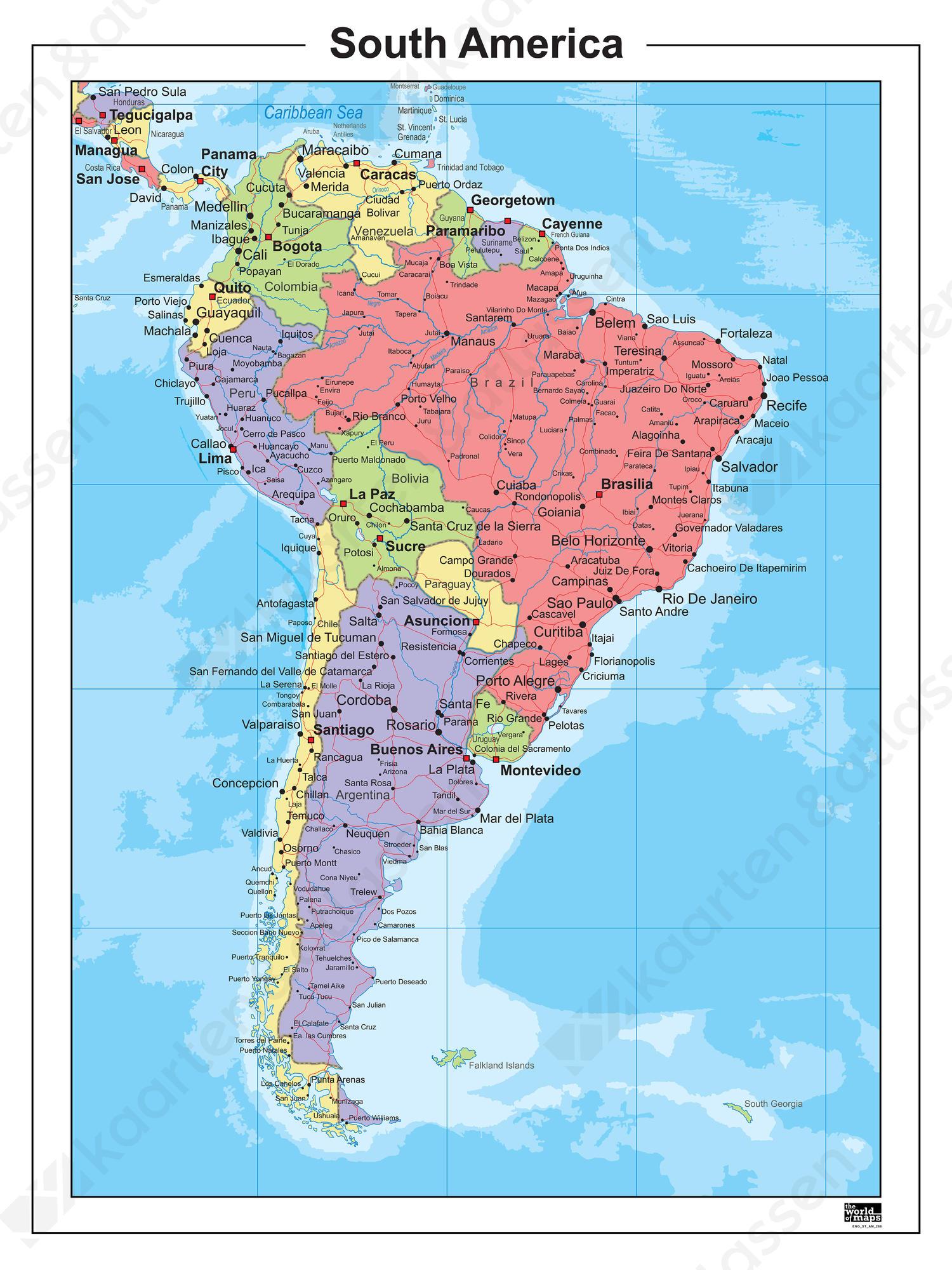 Digitale Kaart Zuid-Amerika Staatkundig