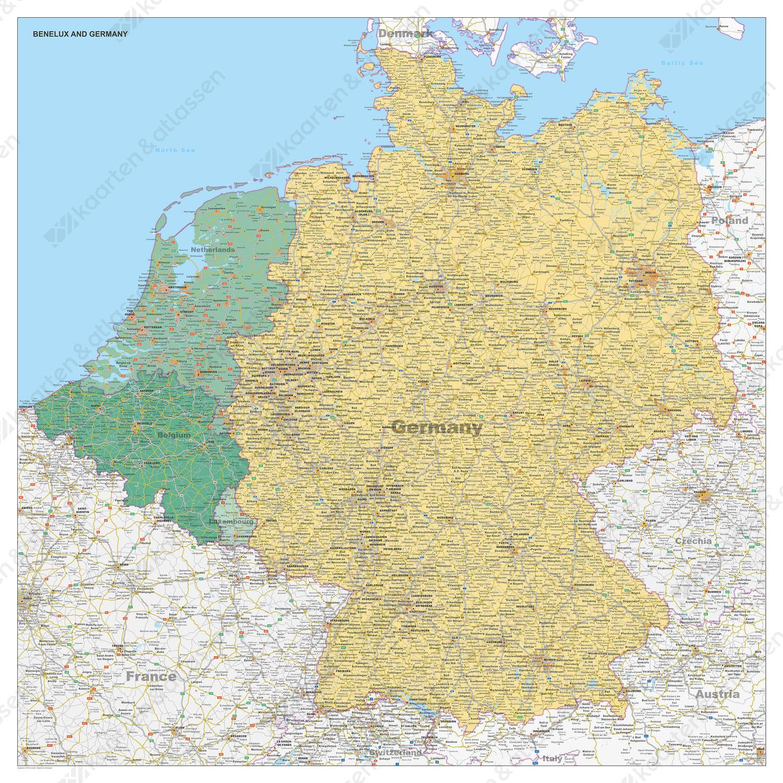 Kaart Benelux Duitsland Staatkundig 1508 Kaarten En Atlassen Nl