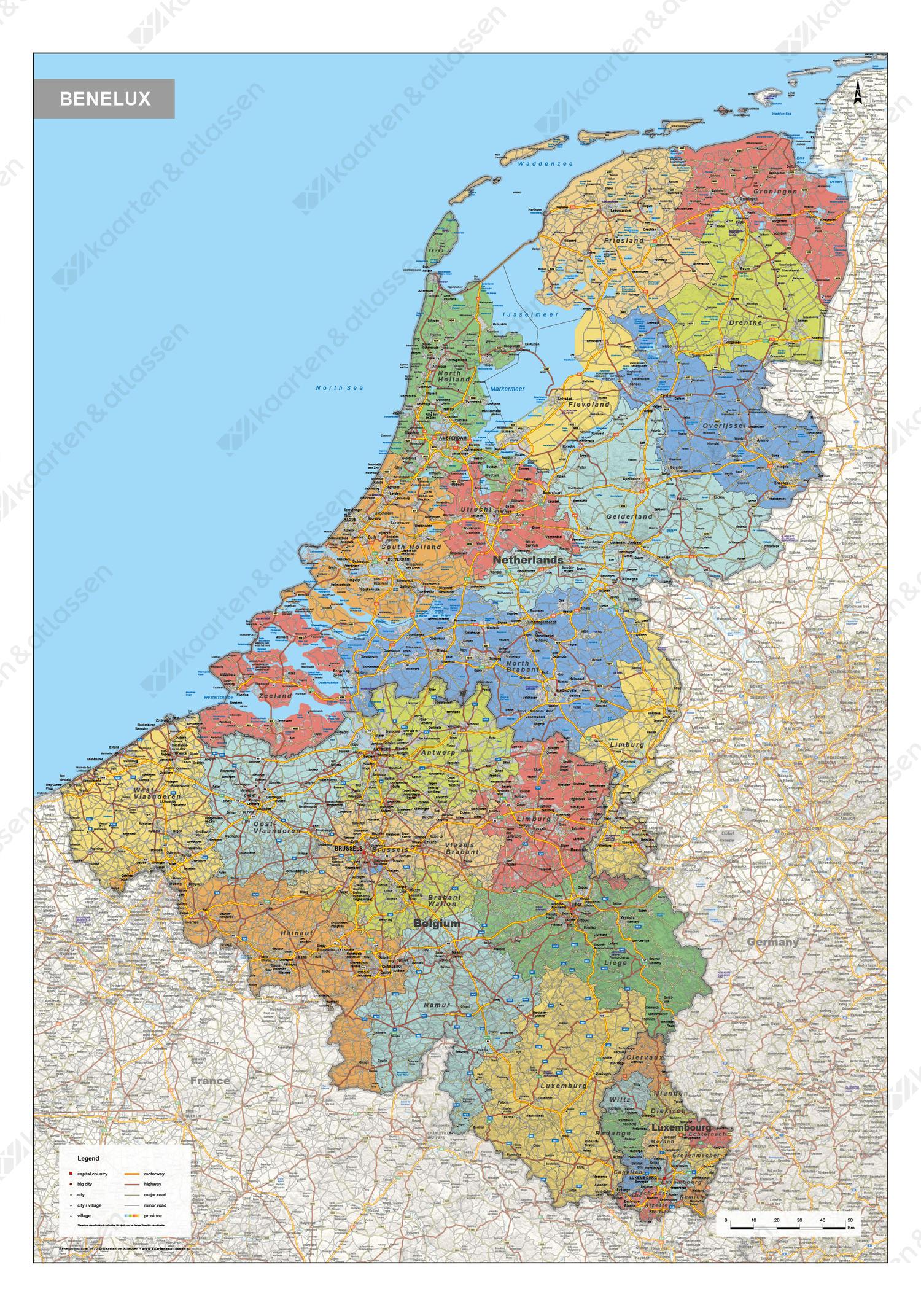 Digitale Benelux Kaart Staatkundig