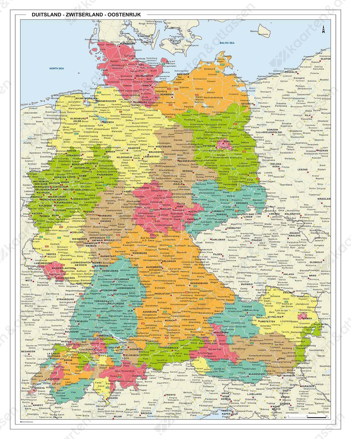 Duitsland Oostenrijk Zwitserland Regiokaart 1328 Kaarten En