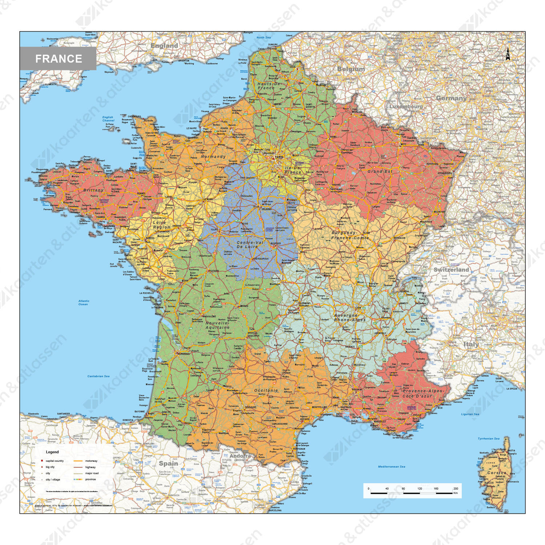 Digitale Frankrijk Kaart Staatkundig