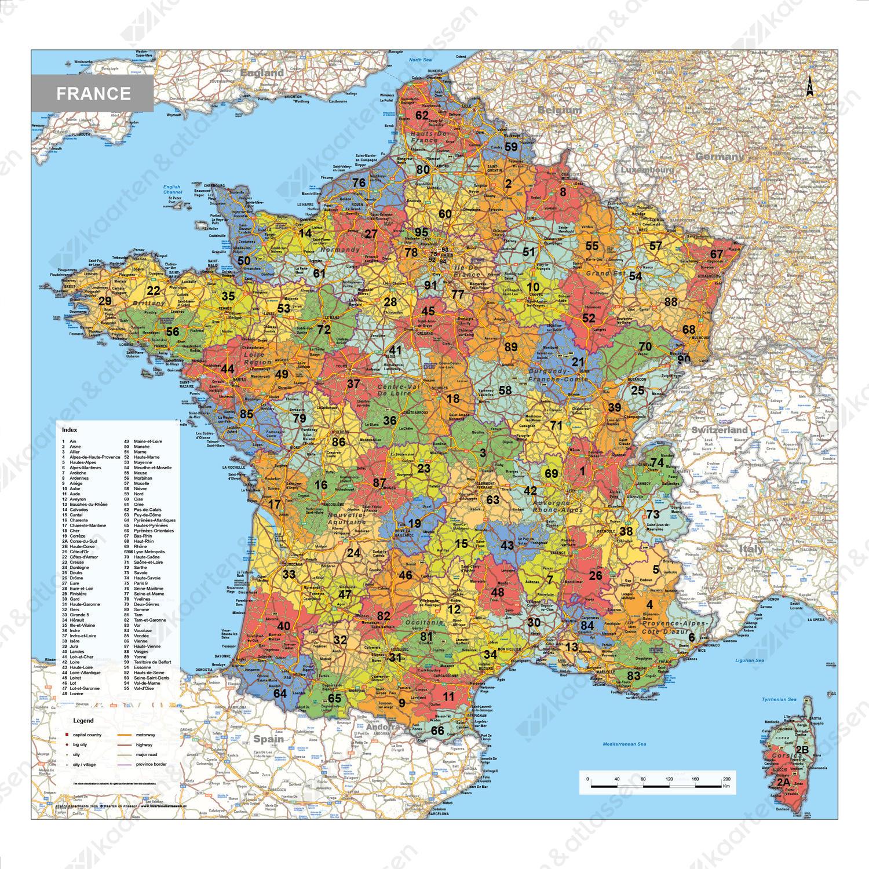 Digitale Frankrijk Kaart met Departementen