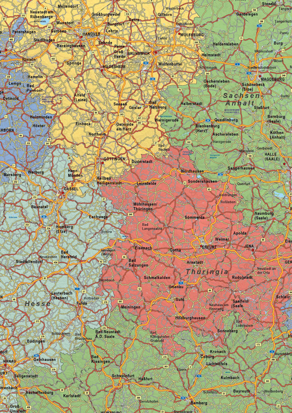 Digitale Duitsland Kaart Staatkundig