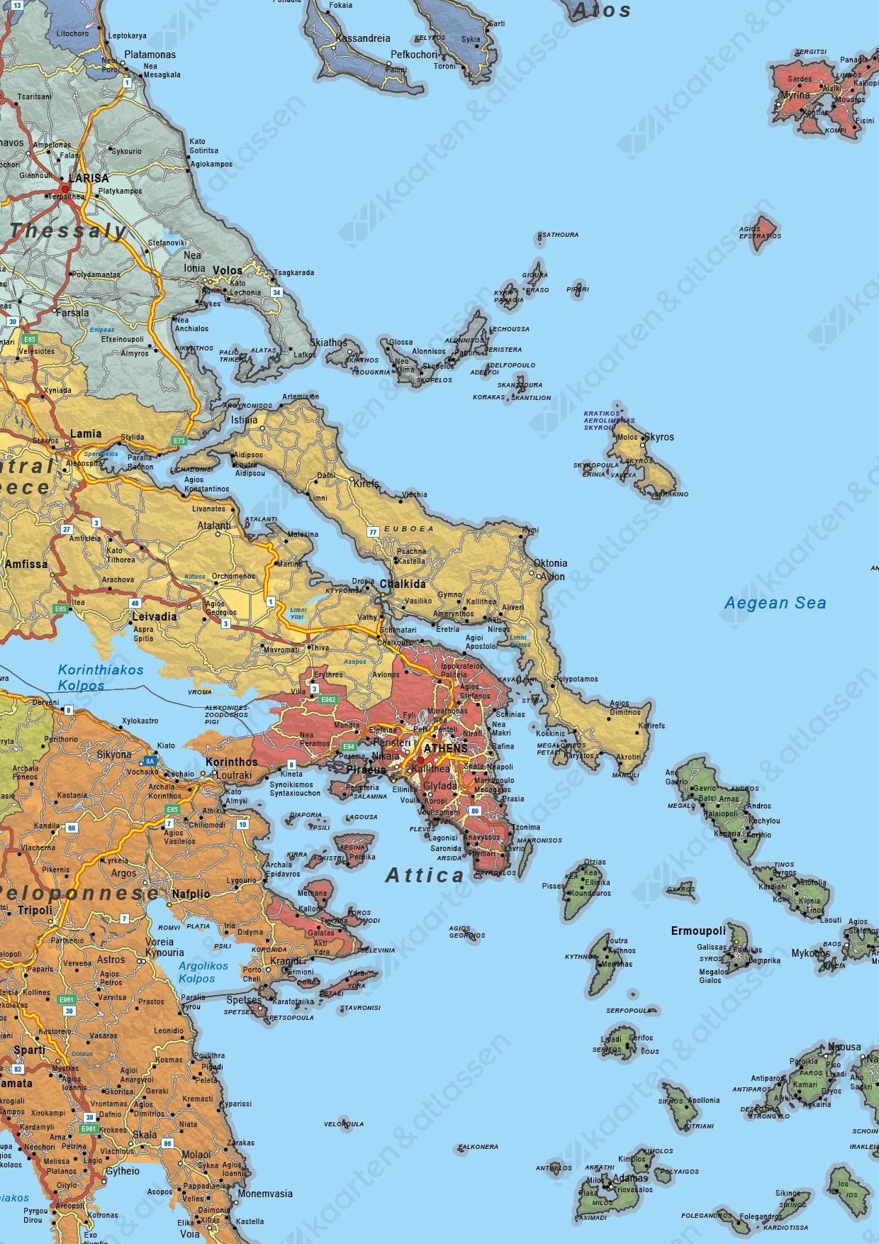 Griekenland Kaart Staatkundig