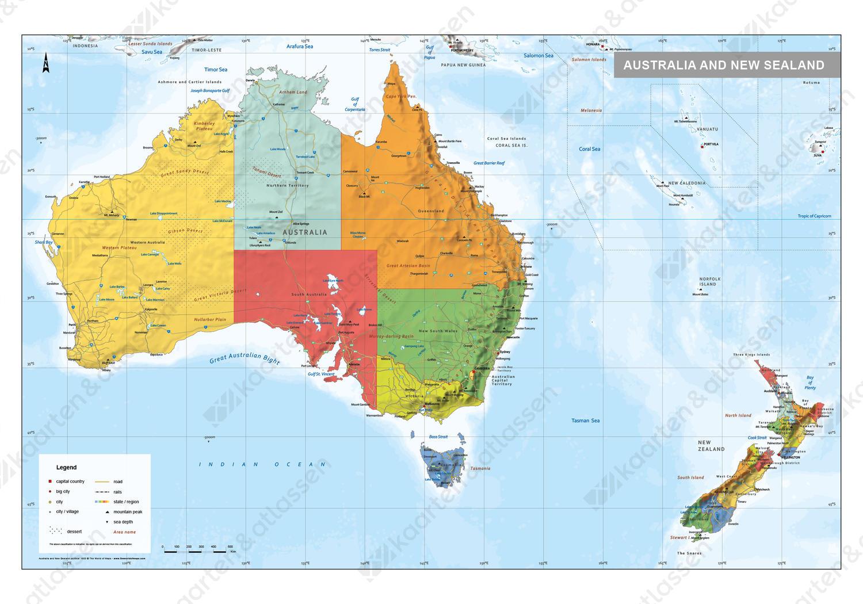Digitale Australie En Nieuw Zeeland Kaart Staatkundig 1600