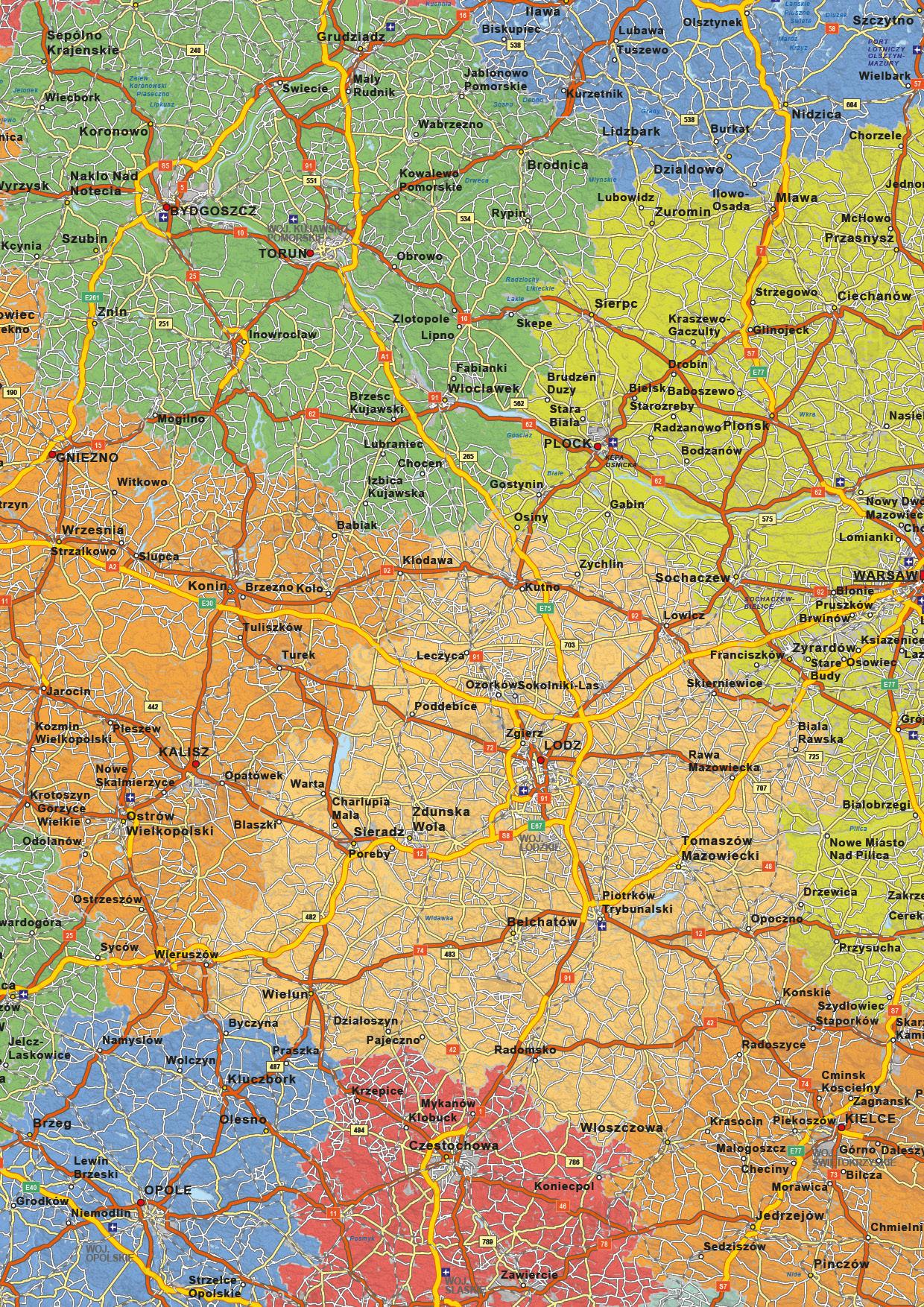 Staatkundige landkaart Polen