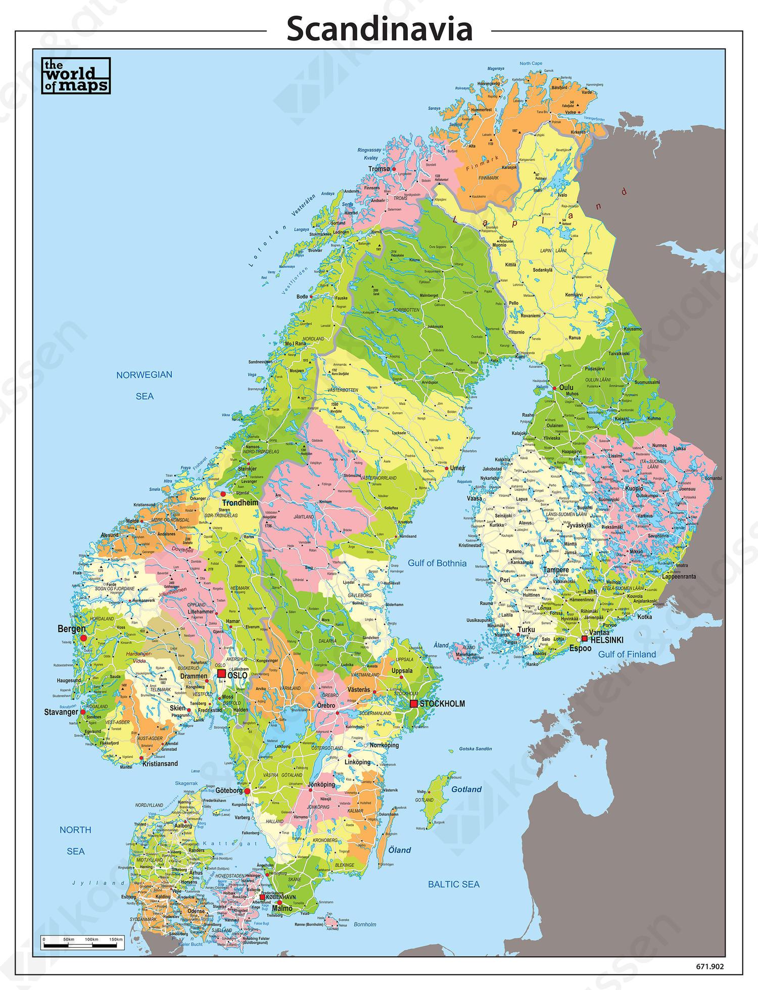 Scandinavie Kaart Staatkundig 53 Kaarten En Atlassen Nl