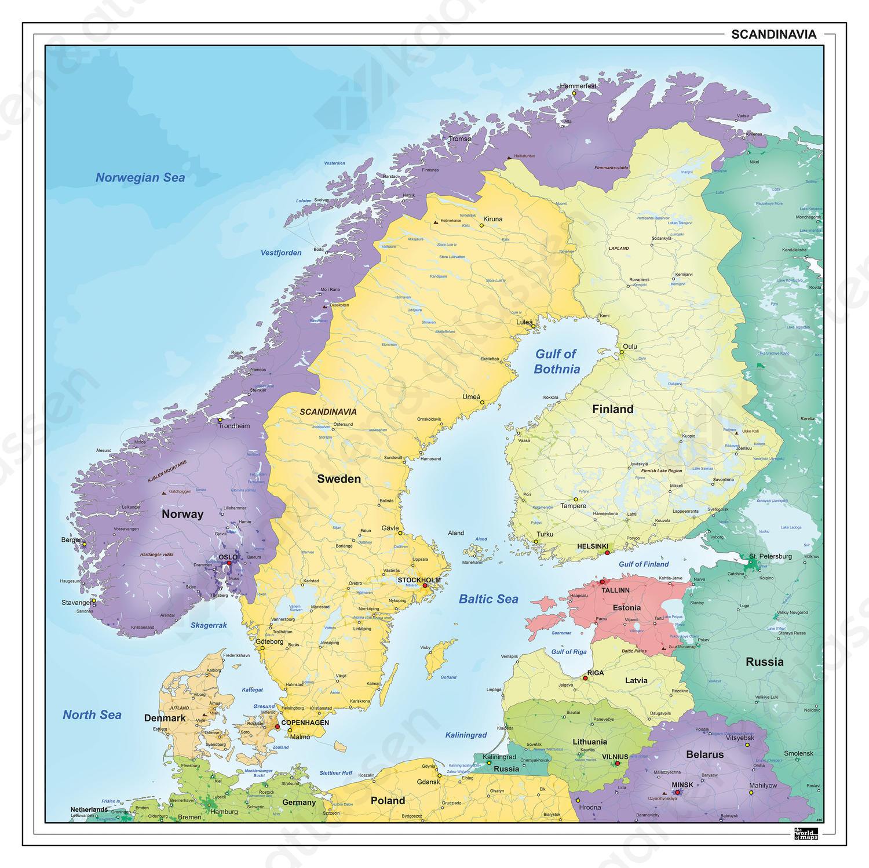 Kaart van Scandinavië