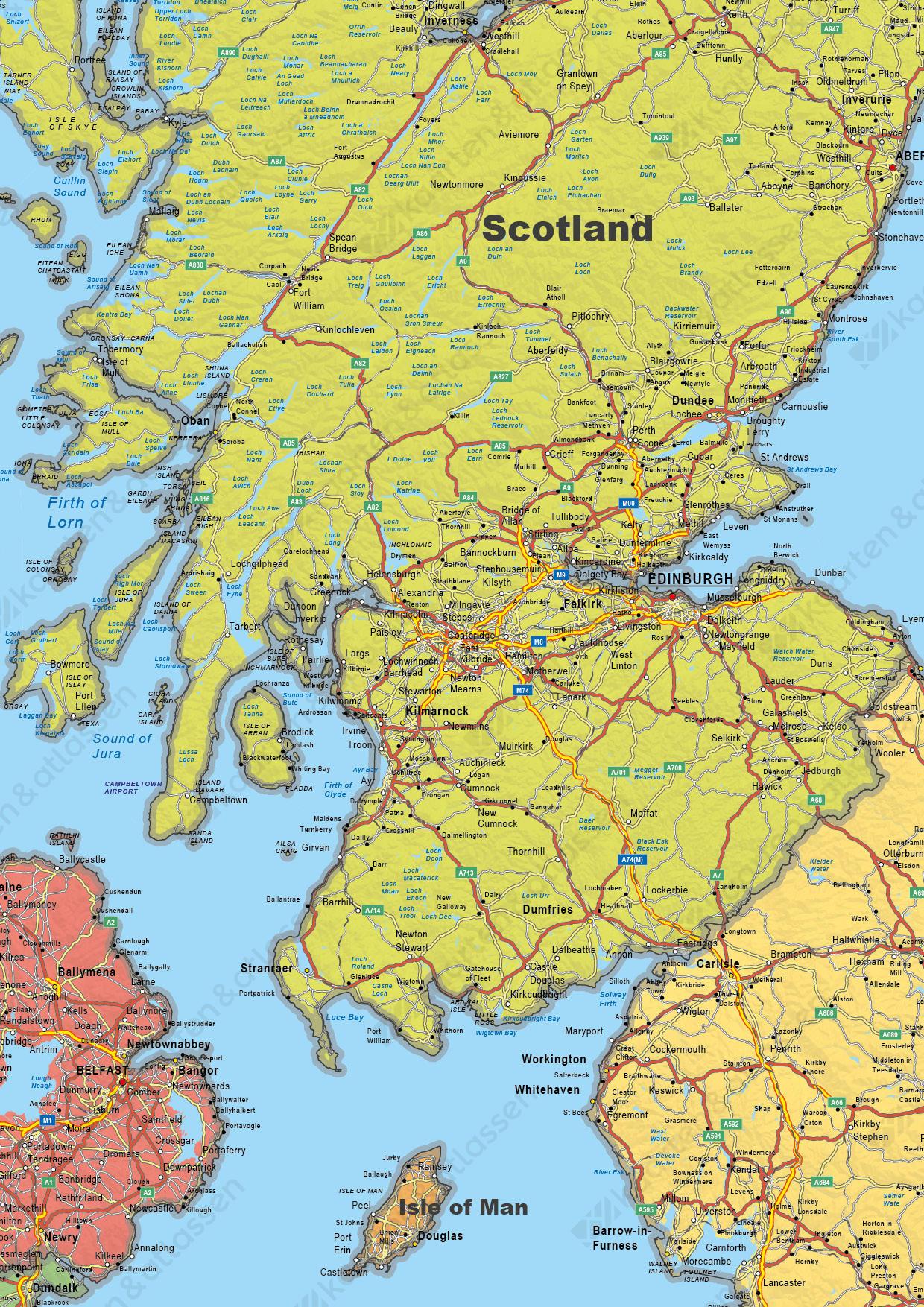 Digitale Verenigd Koninkrijk en Ierland Kaart Staatkundig