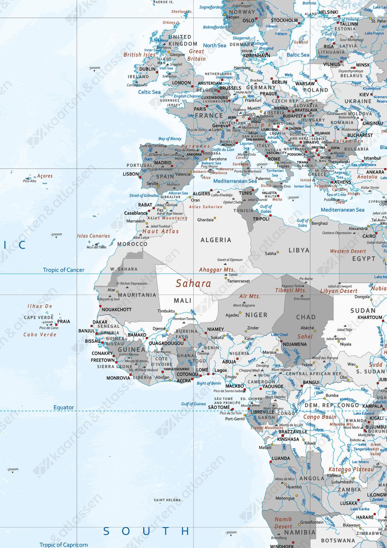 Wereldkaart Zilver